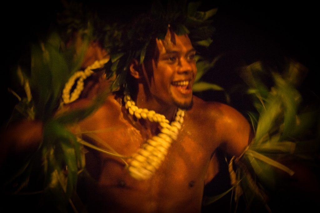 Man dancing at night, Cook's island