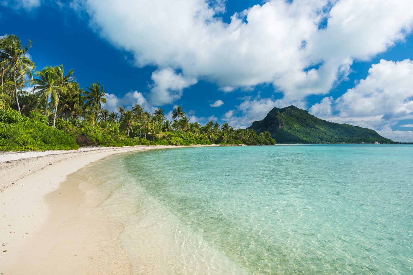 Beach and ocean of Maupiti, French-Polynesia.