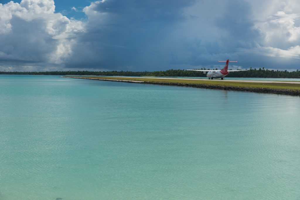 airplane on the landing strip of Maupiti, French-Polynesia.