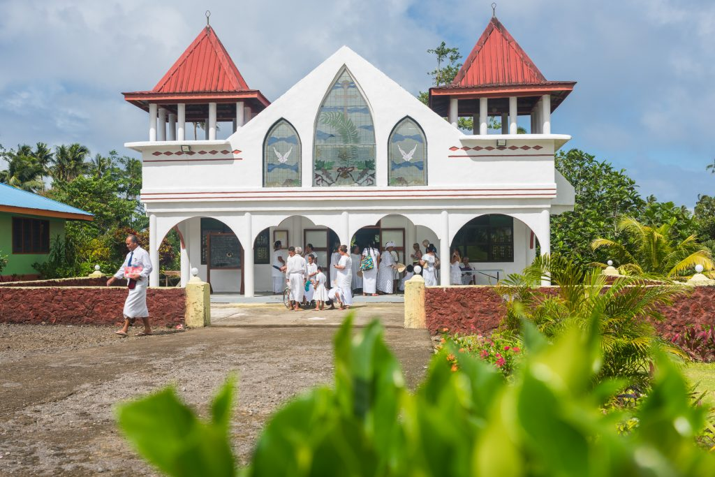 Sunday church, Samoa.